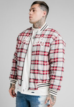 CHECK - Kurtka Bomber - grey/red