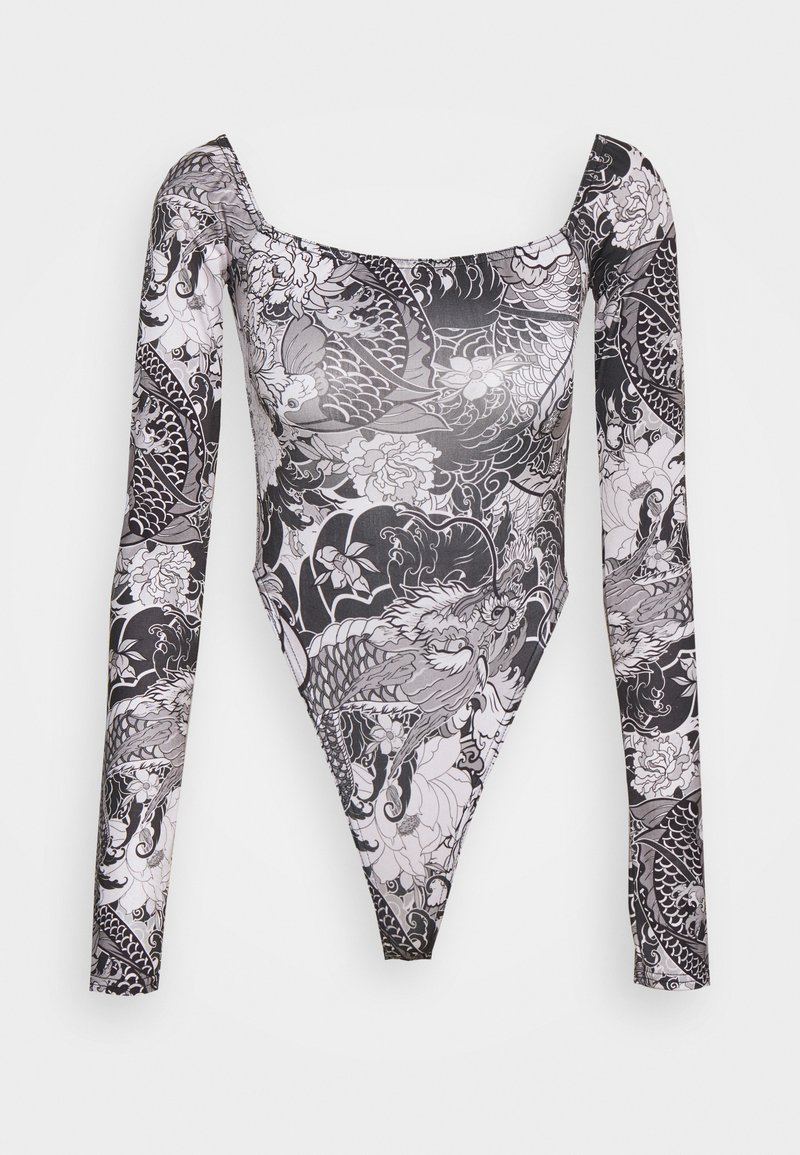 NEW girl ORDER - FLORAL FISH BODY - Printtipaita - black/white