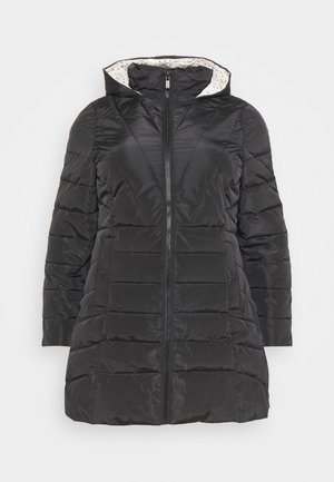 WATER RESISTANT LONGLINE PADDED COAT WITH SIDE ZIPS - Winter coat - black