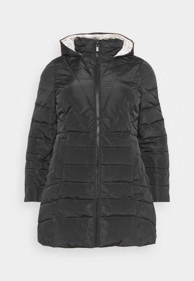 WATER RESISTANT LONGLINE PADDED COAT WITH SIDE ZIPS - Zimní kabát - black