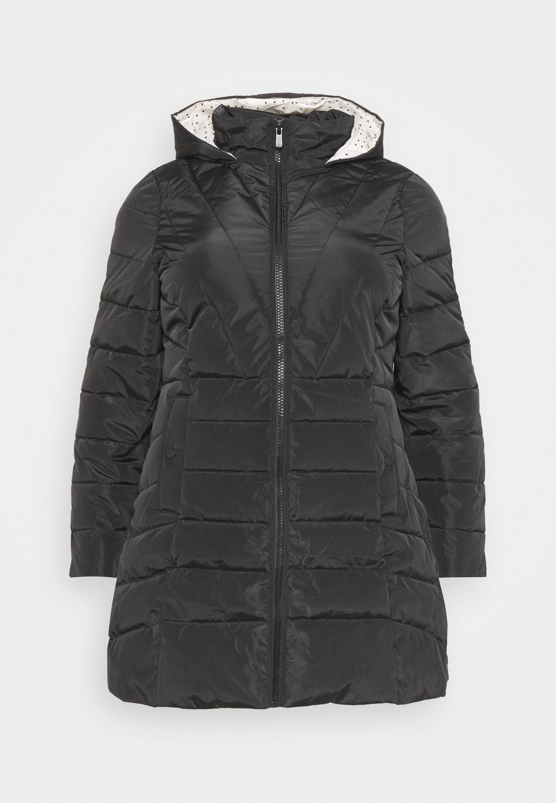 CAPSULE by Simply Be - WATER RESISTANT LONGLINE PADDED COAT WITH SIDE ZIPS - Talvitakki - black