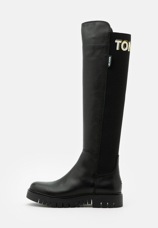 DOUBLE DETAIL LONG BOOT - Over-the-knee boots - black