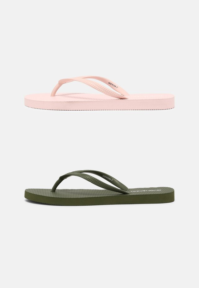 2 PACK - Tongs - khaki/pink