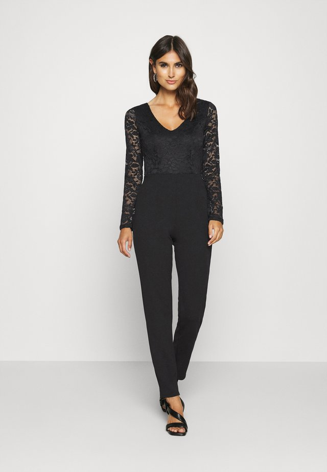 OCCASION - LONG SLEEVES LACE TOP JUMPSUIT - Jumpsuit - black