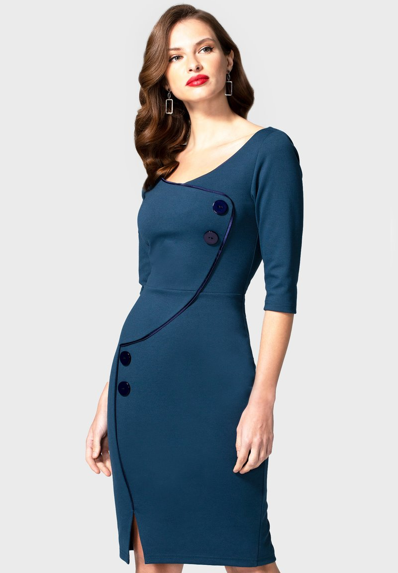 HotSquash - CHELSEA DRESS WITH BUTTONS - Day dress - teal and navy