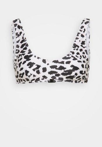CROP LEOPARD - Bikini top - white/black