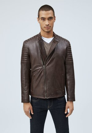 LOCKE - Leather jacket - marrón