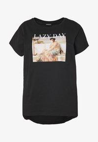 Print T-shirt - black/nude