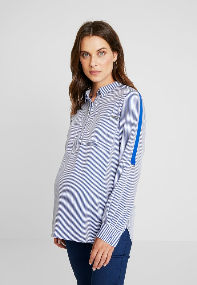 STRIPED WITH TAPE ON SLEEVES - Blouse - navy