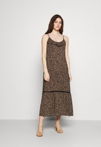 Cotton On - BECKY STRAPPY RUFFLE MAXI DRESS - Maxi dress - black - 0