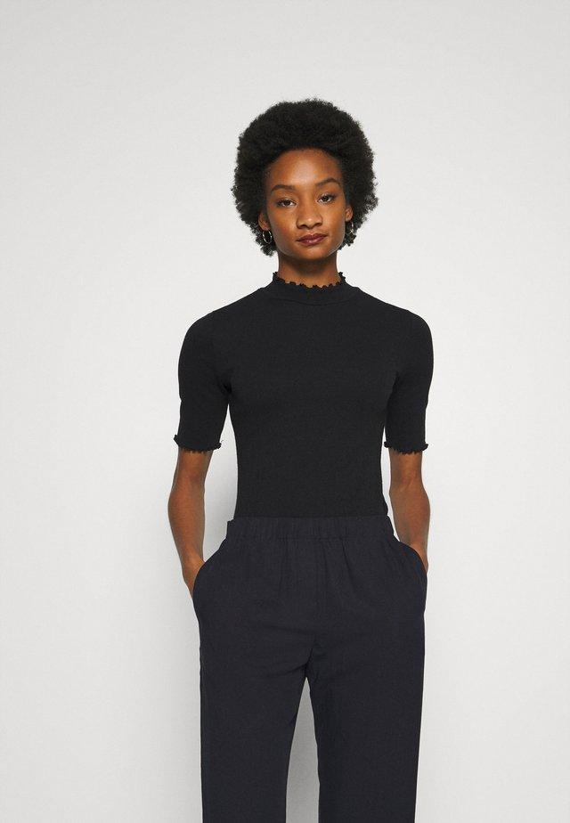 POINTELLE MOCK - Print T-shirt - true black