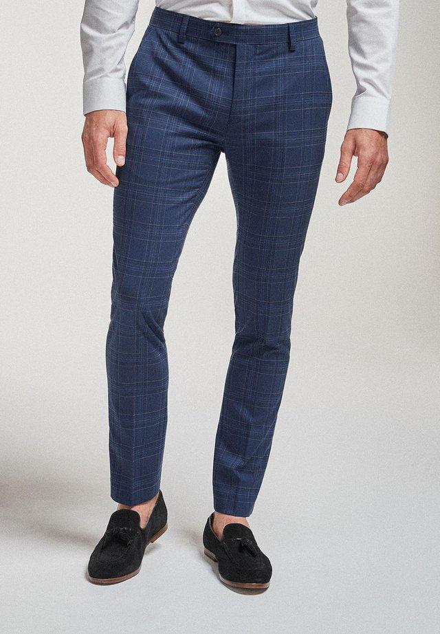 CHECK SUIT: TROUSERS-SUPER SKINNY FIT - Oblekové kalhoty - blue