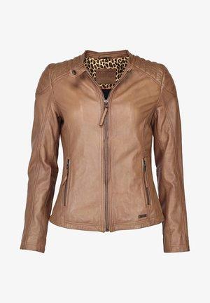 LAURA - Leather jacket - cognac