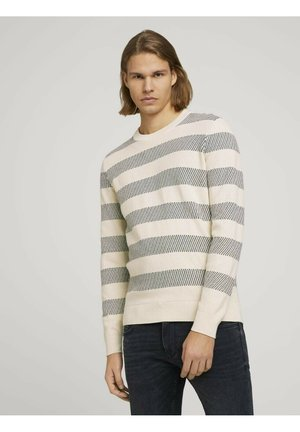Jumper - soft beige navy stripe