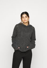 Noisy May Tall - NMWARREN HOODIE TALL - Pullover - dark grey melange - 0