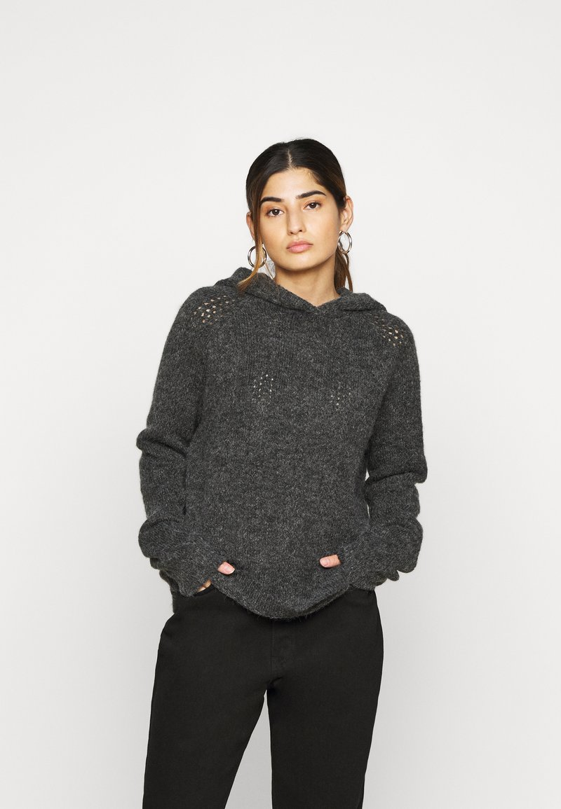 Noisy May Tall - NMWARREN HOODIE TALL - Pullover - dark grey melange