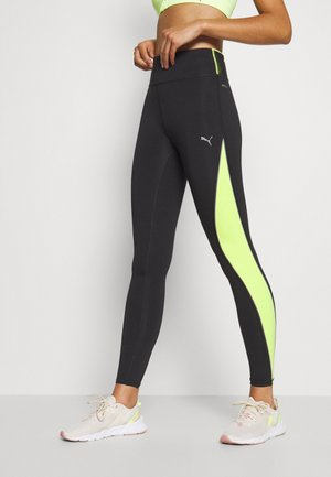 RUN HIGH RISE 7/8 - Leggings - black/fizzy yellow