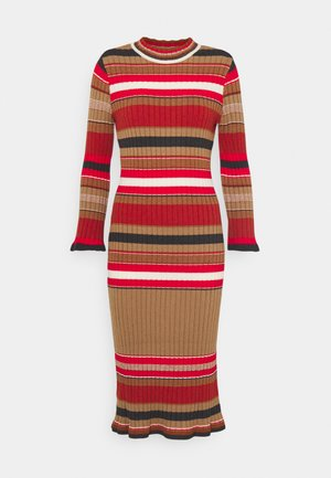 YASSULLY MIDI DRESS - Shift dress - tawny brown/sully red stripe