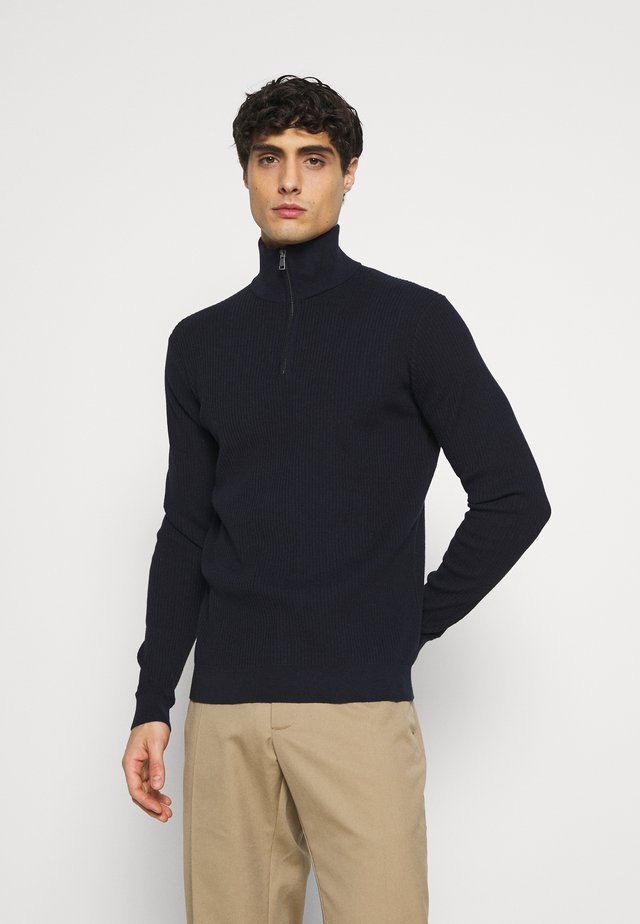 COSY TROYER - Strickpullover - knitted navy melange