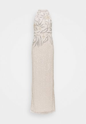 HALTER BEADED COLUMN GOWN - Iltapuku - biscotti