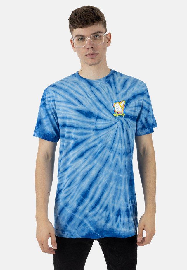 T-shirt print - blue spiral dye