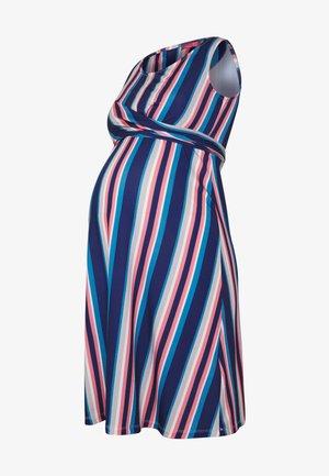 NURSING STRIPPED CROSSED DRESS - Jerseykjole - navy/pink