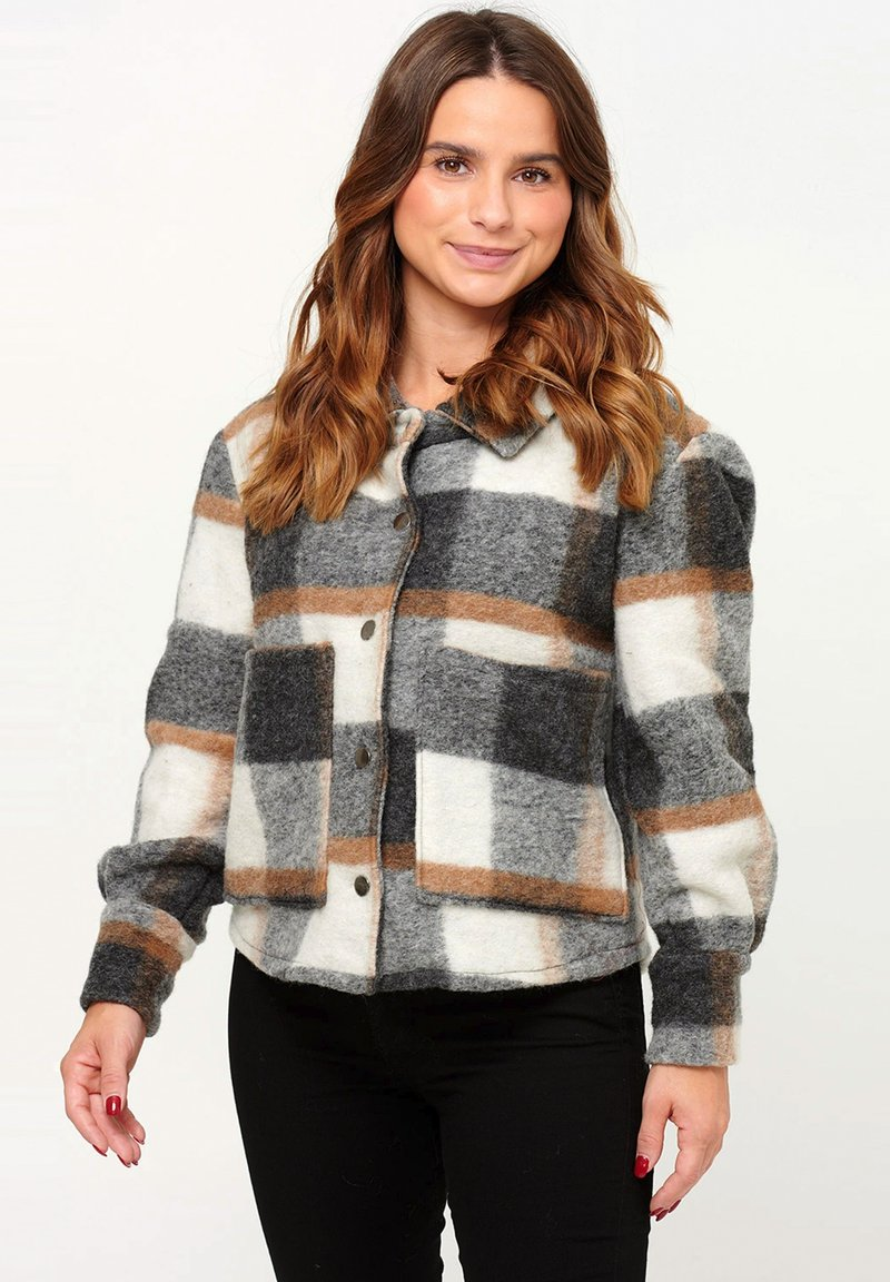 Noella - VIKSA - Summer jacket - grey camel checks