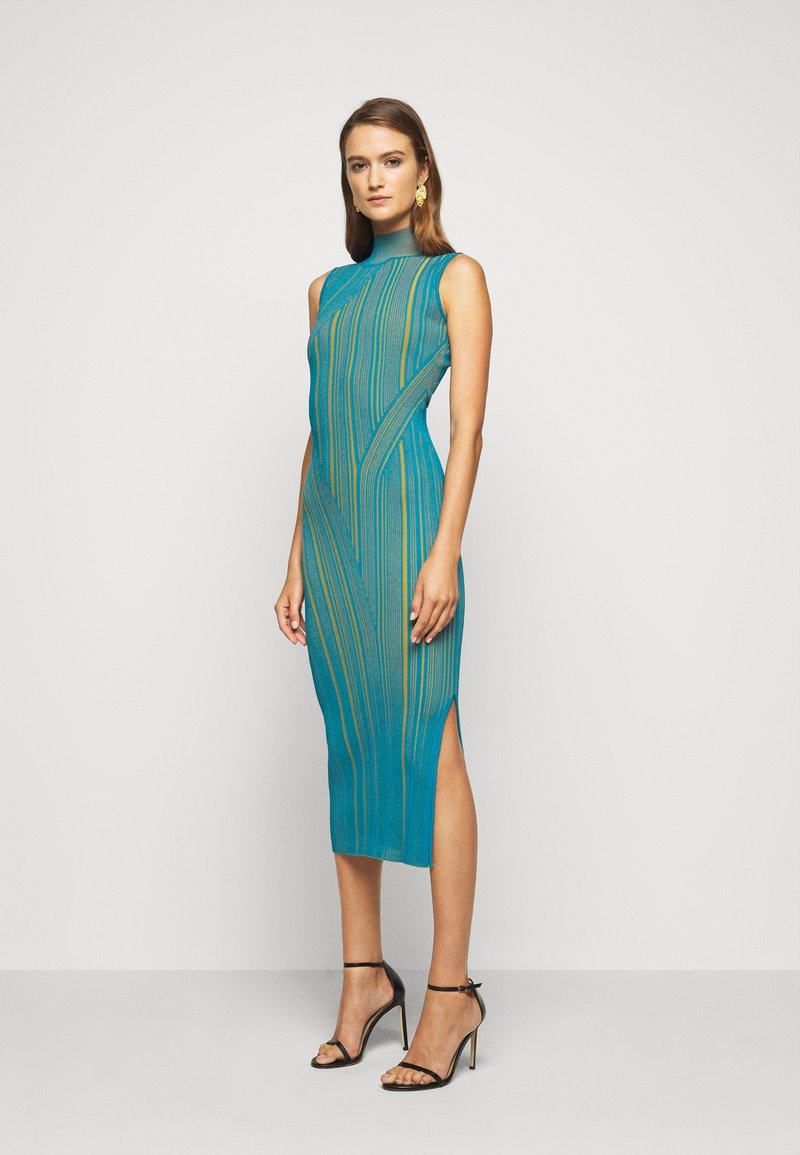 Hervé Léger - SLEEVELESS TURTLENECK DRESS - Vestito elegante - tidal wave