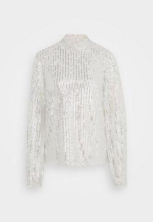 HIGH NECK SEQUIN BLOUSE - Long sleeved top - grey