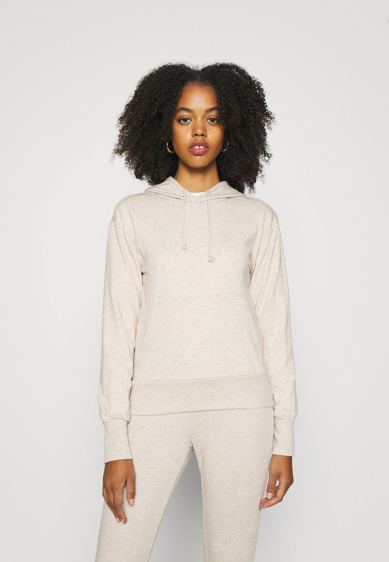 Even&Odd - REGULAR FIT HOODIE WITH FRONT POCKET - Jersey con capucha - beige