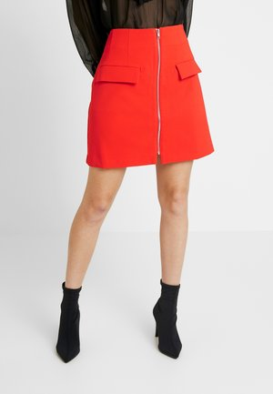 ZIP FRONT POCKET DETAIL MINI SKIRT - A-line skirt - red
