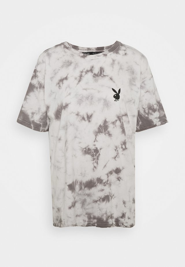 PLAYBOY TIE DYE OVERSIZED - T-shirt con stampa - charcoal