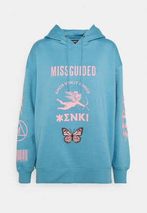 OVERSIZED HOODIE BUTTERFLY - Jersey con capucha - blue