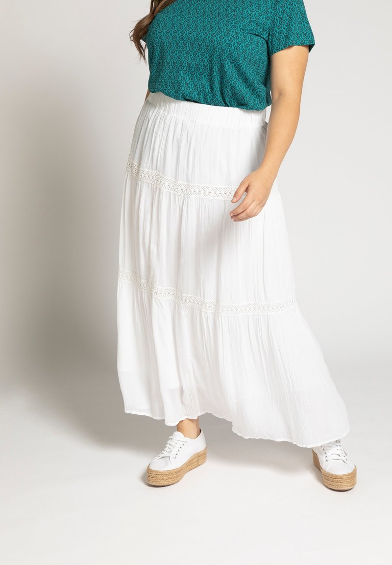 Ulla Popken - Maxi skirt - offwhite