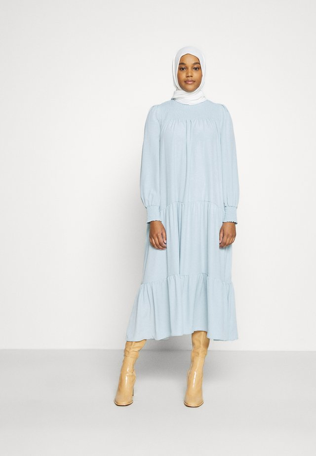 MODESTY SMOCKED HIGHNECK MAXI DRESSES WITH LONG SLEEVES - Maxikjole - blue