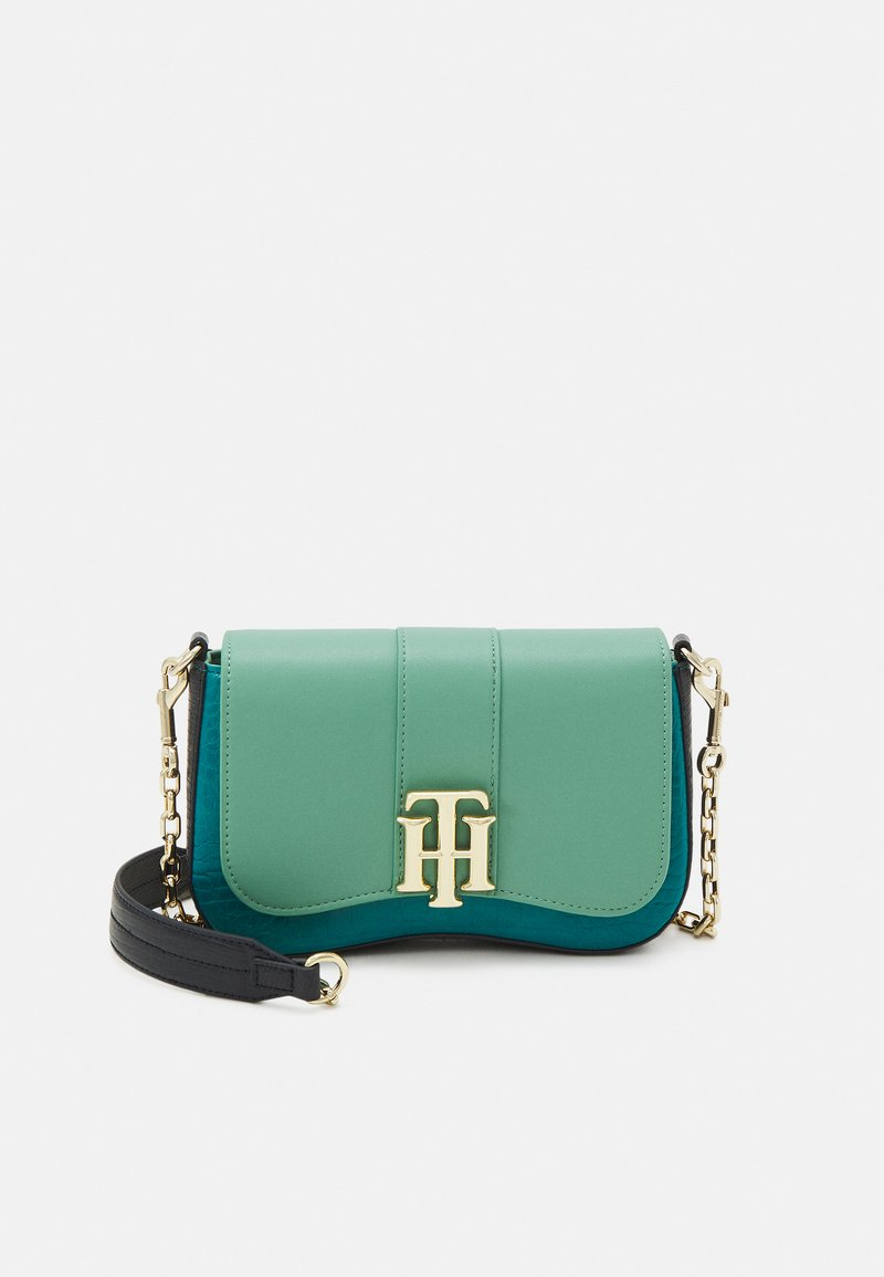 Tommy Hilfiger - LOCK CROSSOVER CROC MIX - Across body bag - green
