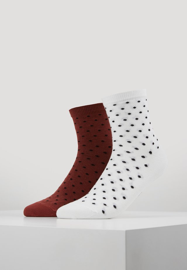 SOCKS 2 PACK - Sokker - burnt henna/white