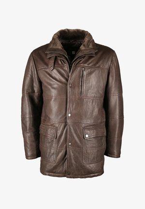 MIT BRUSTTASCHE  - Leather jacket - dark brown