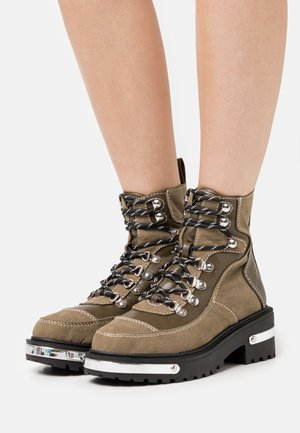 Lace-up ankle boots - khaki dark