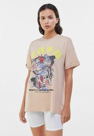 MIT PRINT  - T-shirt con stampa - camel