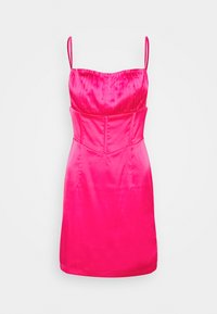 Missguided - PLEAT DETAIL STRAPPY BODYCON MINI DRESS - Cocktailkjole - hot pink - 0