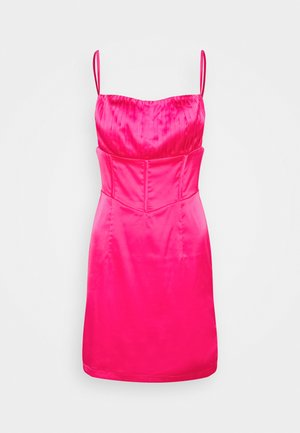 PLEAT DETAIL STRAPPY BODYCON MINI DRESS - Cocktail dress / Party dress - hot pink