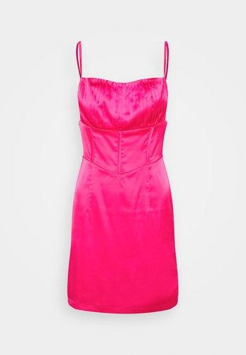 PLEAT DETAIL STRAPPY BODYCON MINI DRESS - Cocktailkjole - hot pink