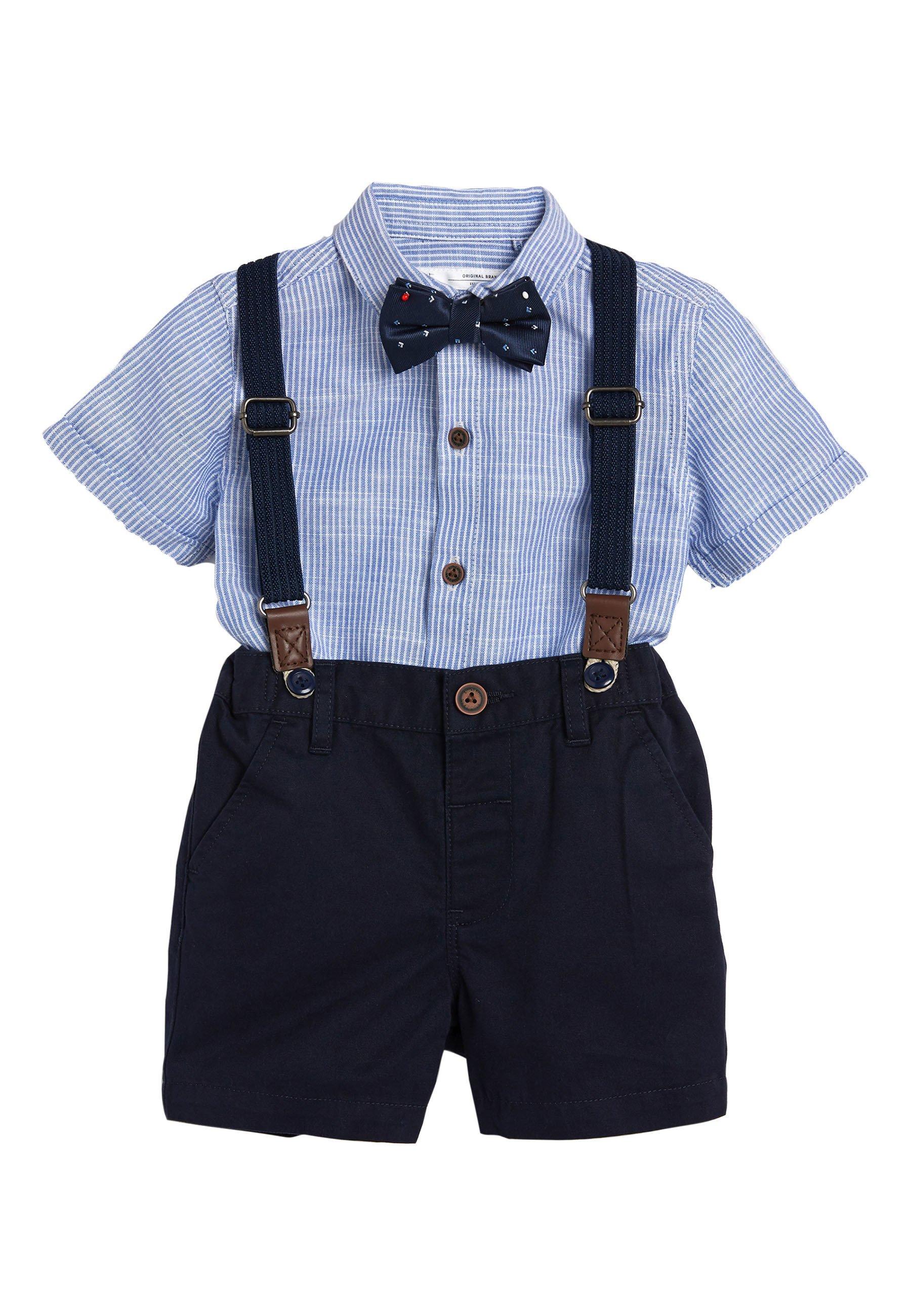 Kinder BLUE SHIRT, SHORTS, BOW TIE AND BRACES SET (3MTHS-7YRS) - Hemd