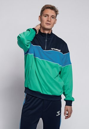 LIAM - Fleece trui - marine/green