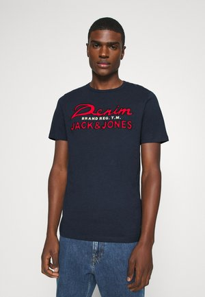 JJAPPLICATION TEE CREW NECK - T-Shirt print - navy blazer