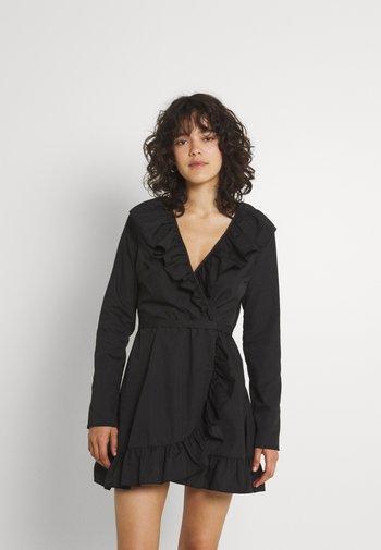RUFFLE HEM WRAP TEA DRESS - Day dress - black
