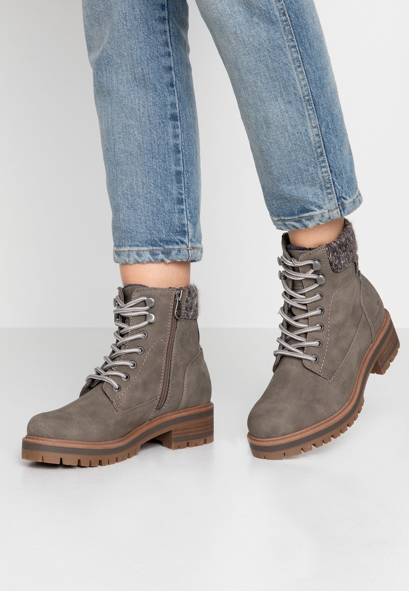 TOM TAILOR - Lace-up ankle boots - mud