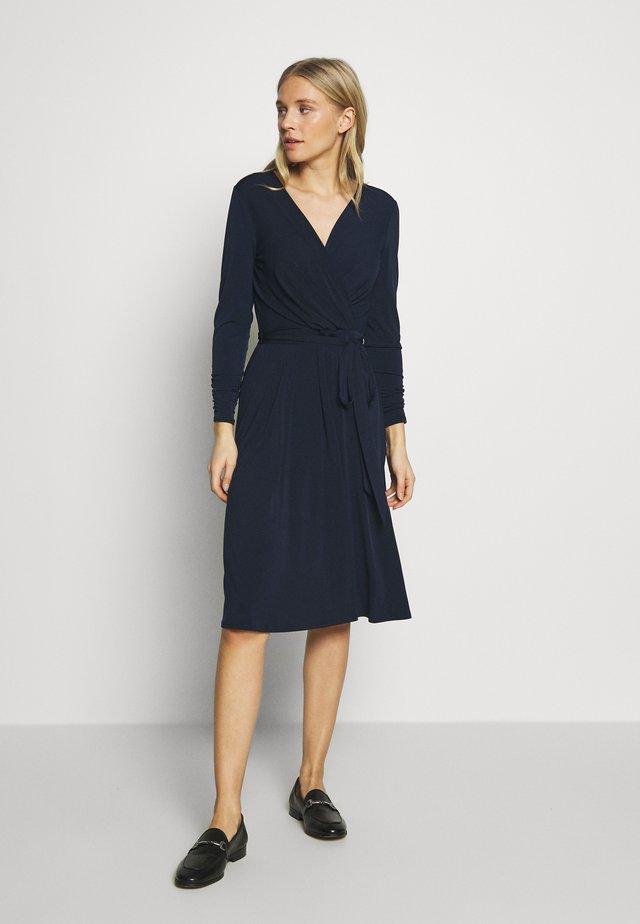 WRAP FIT AND FLARE DRESS - Jerseykjole - navy blue