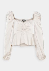 Missguided Petite - PUFF SLEEVE RUCHED FRONT PEPLUM - Blouse - cream - 0